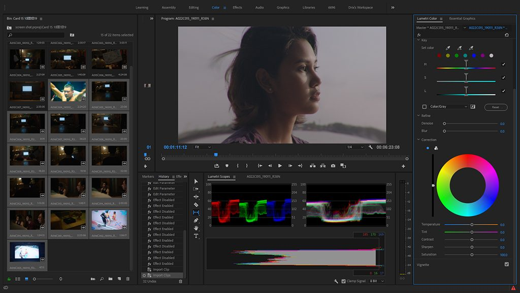 Video editing screen using colour grading effect for a scene of girl looking.